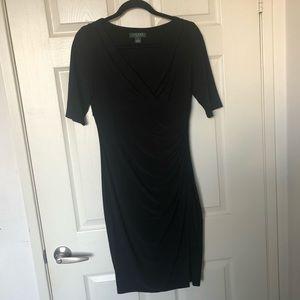 Ralph Lauren Crimped Black Crossover Dress Sz 8